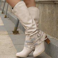 anti-rutsch-high heels großhandel-Laamei Herbst Stiefel für Frauen Rivet Kristall Mid-Kalb Boot Plus Size 9-10,5 Anti-Rutsch-Absatz-Leder-Frauen-Mode