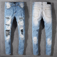 ingrosso artisti blu-New Italy Style # 577 # Toppe strappate da uomo stile vintage strappato Pantalone attillato blu jeans aderenti strappati Pantaloni taglia 29-42