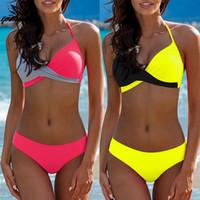 retro suits al por mayor-2019 Nuevo Bikinis Mujer traje de baño Halter Top traje de baño Retro Vintage Beach Wear Traje de baño Bikini brasileño Set Biquini XL femenino