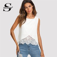 700fc0dca7bf Sheinside Lace Insert Wrap Front Top Women White Round Neck Wrap Plain Vest  2018 Summer Regular Fit Sleeveless Casual Tank Y190123. 35% Off