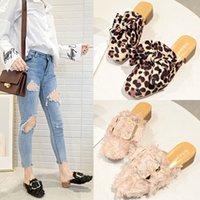 ingrosso scarpe da stampa rosa di leopardo-Overseas2019 Pantofola Donna Altri Vestiti Pigri Summer Coarse Con Baotou Leopard Print Half Support Square Muller Shoe