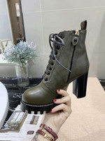 yüksek topuklu kışlık ayakkabılar toptan satış-Moda Bayan Ayak Bileği Çizme Martin Kış İnek Deri Platformu Bayanlar slaytlar Yüksek Topuklu Rahat Ayakkabılar Patik Ücretsiz Kargo