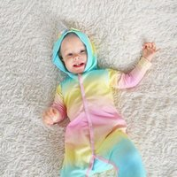Wholesale cute rompers for girls for sale - Group buy Cute multicolor Hooded Baby Rompers For Boys Girls Newborn unicorn Climbing clothes Infant Jumpsuit Baby Clothing MMA1384