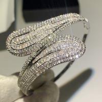 bracelet en diamant topaze achat en gros de-Main Bijoux De Luxe 925 En Argent Sterling T Forme Blanc Effacer Topaze CZ Diamant Éternité Croix Bracelet Femmes De Mariage Bracelet Bracelet Cadeau