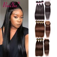 reines remy haar großhandel-Ruiyu Dark Hellbraun Farbige Bündel Mit Verschluss Gerade Menschenhaar-Bündel Mit Verschluss Brasilianische Haarwebart-Bündel Remy Haareinschlagfäden