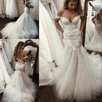 Wholesale winter backless mermaid lace wedding dresses resale online - 2020 New Sexy Country Mermaid Wedding Dresses Deep V Neck Lace Appliques Beaded Backless Tulle Sweep Train Plus Size Formal Bridal Gowns
