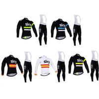 ekip gökyüzü siyah mayo toptan satış-Siyah Jersey Uzun Kollu Set erkek Yaz Ince Ekipman Bisiklet Gömlek Pantolon Tour De France Team Edition SKY