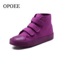 ingrosso alti ragazzo-Ragazzi e ragazze High-top casual primavera autunno caramelle di colore scarpe di tela per bambini Y190525