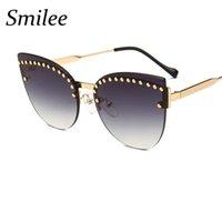 designer-sonnenbrille perlen großhandel-Farbverlauf blau Grau Sonnenbrille Chic Cat Eye Shades Frauen Designer High Fashion 2018 Neue Rahmenlose Sonnenbrille Weibliche Metall Perle