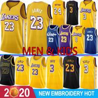 jóias de basquete juvenil xl venda por atacado-NCAA Crenshaw 23 LeBron James 3 Anthony Davis Camisas de basquete do Los Angeles Lakers 24 Kobe Bryant 8 Bryant 32 Johnson 0 Kyle Kuzma Homens Juventude