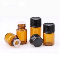 Wholesale mini vial bottles for sale - Group buy Mini Amber Glass Perfume Bottle Portable Essential Oil Bottle Refillable Sample Bottle Brown Glass Vials With Cap RRA438