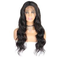 парики для тела оптовых-10А Перуанские Объемные Волосы Парики 360 полный парик шнурка человеческих волос 10