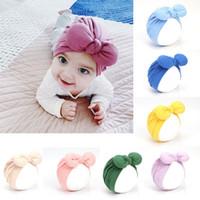 Wholesale newborn babies skull caps resale online - Autumn Winter Infant Baby Girls Hat Cute Bowknot Headwear Child Toddler Kids Beanies Turban Hats Children Knot Hat A250