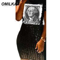 camisa de dinero negro al por mayor-OMILKA Money Letter Impreso Hip Hop T Shirt 2019 Primavera Mujer O Manga Corta O Cuello Negro Boyfriend Style Club Street Tops
