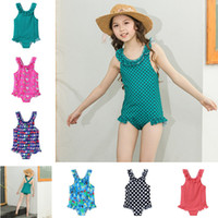 Wholesale mermaid swimsuit online - Children Mermaid Swimwear baby girls rainbow Unicorn Dot Animal print swimsuit summer fashion Bikini INS Kids ruffle One Pieces C6374
