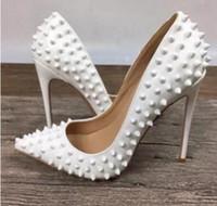 en iyi parti ayakkabıları toptan satış-En Çok Satan 2019 Kadın Stiletto Yüksek Topuklu Parti Ayakkabı Pompalar Kadın Seksi Sivri Burun Zapatos Mujer Perçinler Tasarım Lady Düğün ayakkabı
