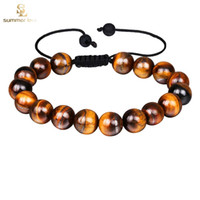 schwarze männer schmuck großhandel-Neue Ankunft Tigerauge Perlen Armband für Männer Frauen Einstellbare Größe 10mm Lava Stein Schwarze Perlen Geflochtenes Armband Schmuck Geschenk