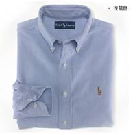 erkekler için beyaz polo gömlekler toptan satış-Yüksek Kalite Erkekler Lüks polo kıdemli tasarımcı erkek uzun kollu gömlek denim tarzı gömlek polo rahpl la gömlek mavi beyaz gri