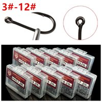 1000pcs 10box 3#-12# Black Ise Hook High Carbon Steel With Hole Barbed Fishing Hooks Fishhooks Fishing Tackle A-001
