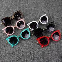Wholesale frame glasses eye for kids resale online - Cute Hot Cat Eye Brand Designer Sunglasses for Children Fashion Girl Boy Cute Sun glass Kids Gradient UV400 Kawaii Lovely Eyewear