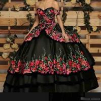 vestidos romanticos para fiesta de graduación al por mayor-2019 Romántico fuera del hombro Quinceanera Vestidos de bola Flores 3D Apliques Cariño Bordado Vestidos formales Dulce 16 Vestidos de fiesta