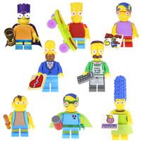 crianças brinquedos nova chegada venda por atacado-New Arrival O Toy Bloco Simpson Lisa Maggie Milhouse Ned Flanders Homer Jay Marge Bart Nelson Mini Toy Figura edifício para as crianças