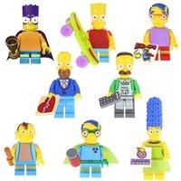 jay oyuncak toptan satış-Yeni Varış Simpson Lisa Maggie Milhouse Ned Flanders Homer Jay Marge Bart Nelson Mini Oyuncak Şekil Yapı Taşı Oyuncak çocuklar için