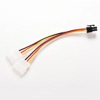 tarjeta de visualización pci al por mayor-2PCS PCI-E 6 Pin a 2X 4 Pin Dual 4Pin Tarjeta gráfica con pantalla de video Adaptador de corriente Cable convertidor