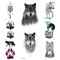 ingrosso volpi nere-Black Ferocious Evil Wolf Autoadesivi provvisori del tatuaggio Body Art Drawing Tattoo Donne geometriche Moon Fake Tatoos Uomini Arrow Fox Moon