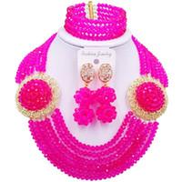 joyas para la venta de aniversario al por mayor-Conjuntos de fucsia rosa africano clásico collar mujeres joyas de cristal para aniversario 6C-SPH-11
