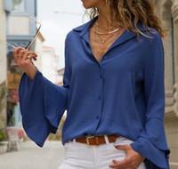 ingrosso camicie di loto-Camicia a maniche lunghe a manica nera bianca New Fashion Casual scollo a V Top Lotus Sleeve Autumn Camicette Abbigliamento donna