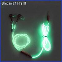 Wholesale brown wire lights resale online - 4x Glowing Earphone Luminous Light Metal Zipper Headphone Earbuds Glow In The Dark For Iphone Samsung Xiaomi MP3 With Mic