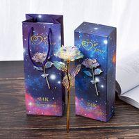 caja de luz flor decoracion al por mayor-Light Star Gold Foil Rose Día de la Madre Regalo del día de San Valentín Chapado en oro Flor de Rose Fiesta de bodas Decoración con caja de regalo