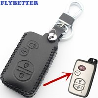 ingrosso automobili avalon-FLYBETTER Cover in vera pelle Smart Key 4Button per Toyota Highlander / Avalon / Camry / Sequoia / RAV4 Car Styling L75