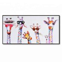 ingrosso giraffa a olio di tela di canapa-Dipinto ad olio Dipinto su tela Incorniciato animale Giraffa Cartoon arte astratta Wall Art Soggiorno camera da letto per bambini Decorazione della parete
