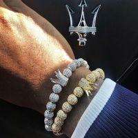 Mcllroy Charm Bracelet women men gold silver bracelet Men Stainless Steel Beads Bracelets Crown Cubic Zirconia Bracelets Jewelry J190722