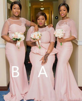 Wholesale peplum mermaid wedding gown resale online - Blush Pink Lace Appliqued Mermaid Bridesmaid Dress African Cheap Wedding Guest Gown Black Girl Plus Size Evening Party Prom Dress