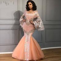 Wholesale burgundy evening dress long sleeves resale online - Saudi Arabic Mermaid Evening Dress Elegant Lace Puffy Long Sleeve V Neck Prom Dresses Tassels Peach abendkleider robe de soiree