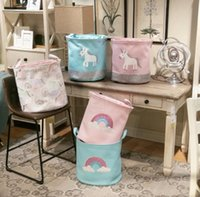 Wholesale baskets for clothes storage for sale - Unicorn Storage Basket for Toys Fabric Rainbow Printed Clothes Basket for Child Folding Laundry Basket LJJK1305