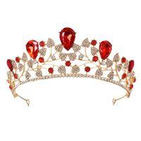 ingrosso blu corona tiaras-Di lusso grandi corone barocche nuziali di cristallo blu tiara nuziale copricapo da sposa fascia nuziale accessori per capelli da sposa