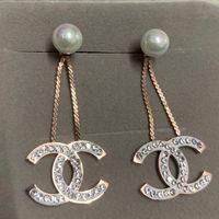 полные бриллианты оптовых-Новый роскошный модный дизайн бренда розовое золото полный бриллиант жемчужина мотаться серьги ювелирные изделия для женщин свадьба обручальное подарок