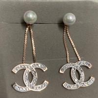 diamantes llenos al por mayor-Nueva moda de lujo Diseño de marca oro rosa lleno de diamantes perla cuelga gota Pendiente de la joyería para las mujeres boda compromiso regalo envío gratis