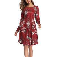 Wholesale home shopping dress resale online - Soft Floral Print Home Casual Loose Shopping Holiday Polyester Daily Women Dress Crew Neck Beach Long Sleeve With Pocket