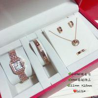 quarzuhr armband set großhandel-Designer Uhren Schmuck Sets Damen Quarzuhren Armbänder Halsketten Ohrringe Ringe 2019 Luxus Mode Accessoires Volle Geschenkbox Packag