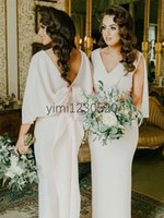 Wholesale latest wedding dresses bridesmaid for sale - Group buy Arabic Latest Mermaid Bridesmaid Dresses V Neck Backless Floor Length Bow Garden Country Wedding Guest Gowns Maid of Honor Dress