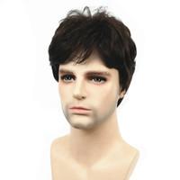 Wholesale short dark wig men for sale - Group buy StrongBeauty Men Wig Dark Brown Natural Short Straight Hair Synthetic Full Wigs Wig Dark Brown Natural Short Straight Hair Synthetic