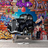 Wholesale custom car painting for sale - Group buy custom size d photo wallpaper living room mural Graffiti Wall of Luxury Car d picture painting sofa background wallpaper non woven sticker