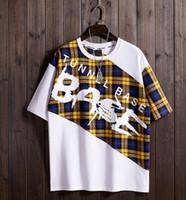 tops brancos de colheita solta venda por atacado-2019 Moda Camisas De Beisebol Branco Verão T-Shirt De Manga Curta Dos Homens Xadrez Solta Cortada Manga Top
