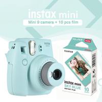 himmel bedrucktes papier großhandel-Instax Mini 9 Ice Blue Sofortbildkamera Fotodruckkamera mit 10 Blatt Sky Blue Mini Filmpapier Geschenkset