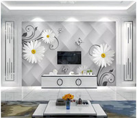 Wholesale butterfly flowers wallpaper stickers resale online - Custom large scale mural d photo wallpaper Creative Butterfly Love Flower D Fashion Living Room TV Background Wall Sticker papel de parede